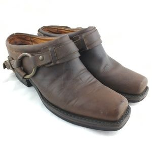Belted harness mule clog brown leather square toe